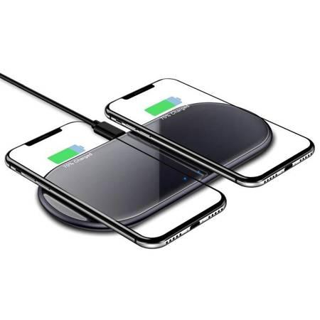 Crong Dual Fast Wireless Charger - Bezprzewodowa ładowarka indukcyjna Qi 2x15W (Shadow Black)