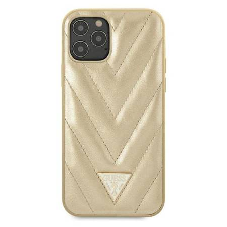 Guess V Quilted - Etui iPhone 12 Pro Max (złoty)