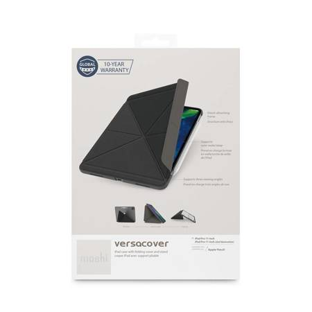 Moshi VersaCover - Etui origami iPad Pro 11 (2020/2018) z ładowaniem Apple Pencil (Charcoal Black)