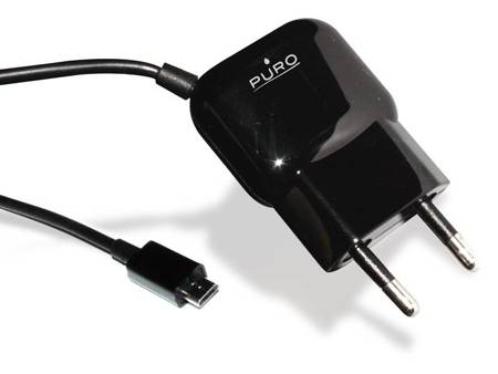 PURO Mini Travel Charger - Przenośna ładowarka sieciowa z kablem Micro USB (czarny)