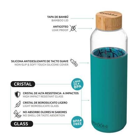 Quokka Flow -  Butelka na wodę ze szkła 660 ml (Inner Palm Leaves)