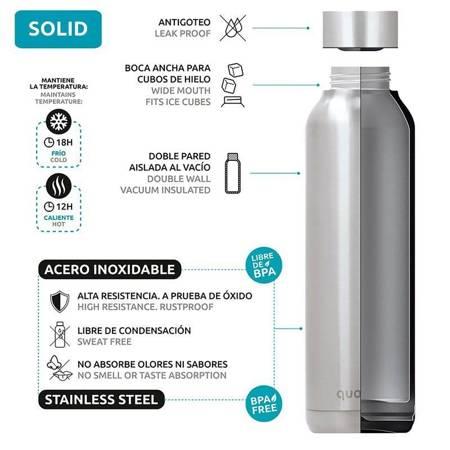 Quokka Solid Kids - Butelka termiczna ze stali nierdzewnej 510 ml (Pink Bricks)