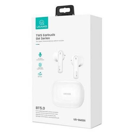 USAMS Słuchawki Bluetooth 5.0 TWS SM series bezprzewodowe biały/white BHUSM01 (US-SM001)