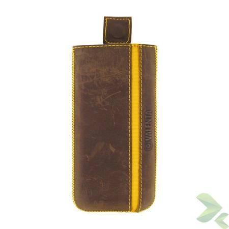 Valenta Pocket Stripe Vintage - Skórzane etui wsuwka Samsung Galaxy S5, Sony Xperia Z i inne (brązowy)