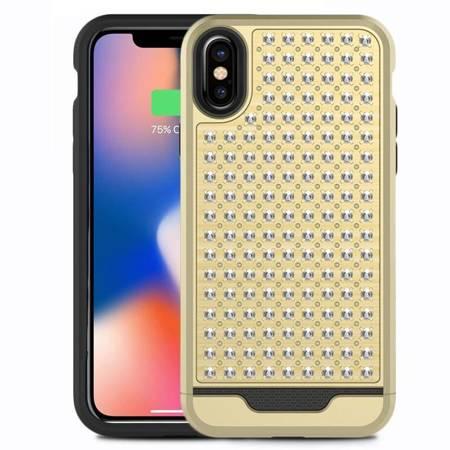 Zizo Star Diamond Hybrid Cover - Etui iPhone X (Gold/Black)